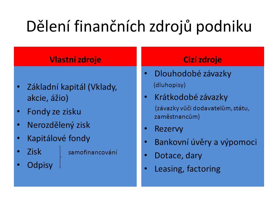 Dělení finančních zdrojů podniku