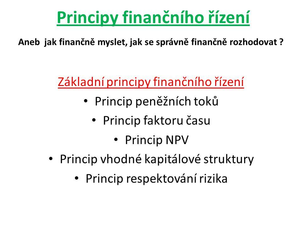 Principy finančního řízení Aneb jak finančně myslet, jak se správně finančně rozhodovat