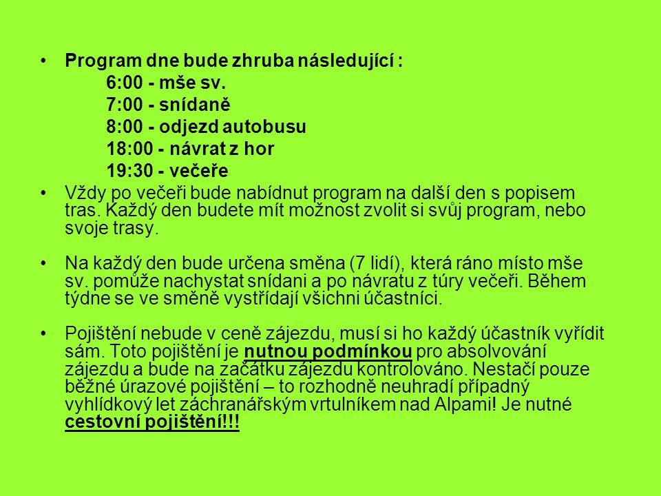 Program dne bude zhruba následující :