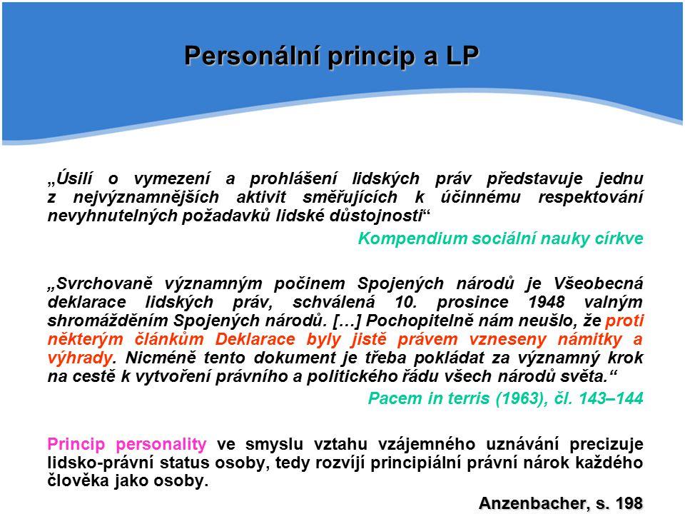 Personální princip a LP