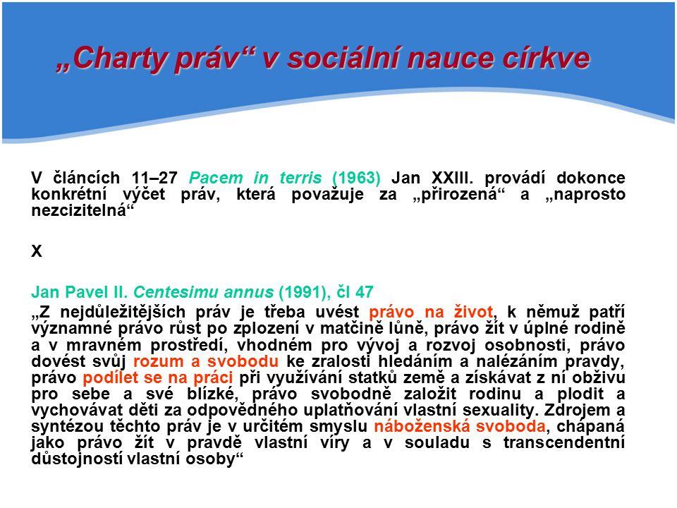 """""""Charty práv v sociální nauce církve"""