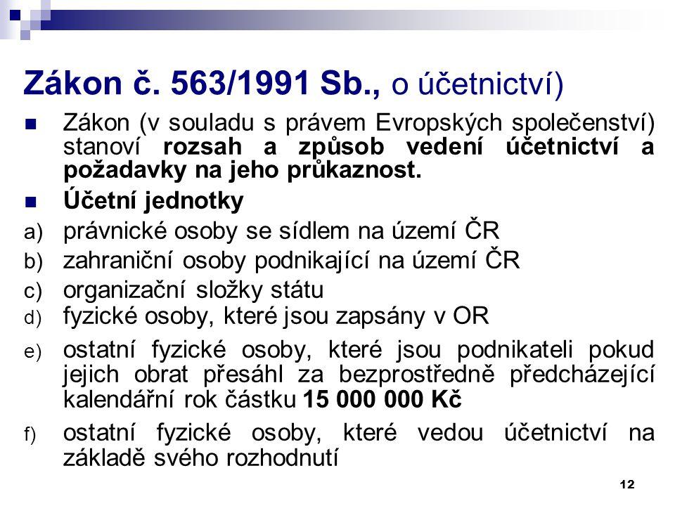 Zákon č. 563/1991 Sb., o účetnictví)