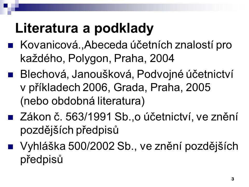 Literatura a podklady Kovanicová.,Abeceda účetních znalostí pro každého, Polygon, Praha, 2004.