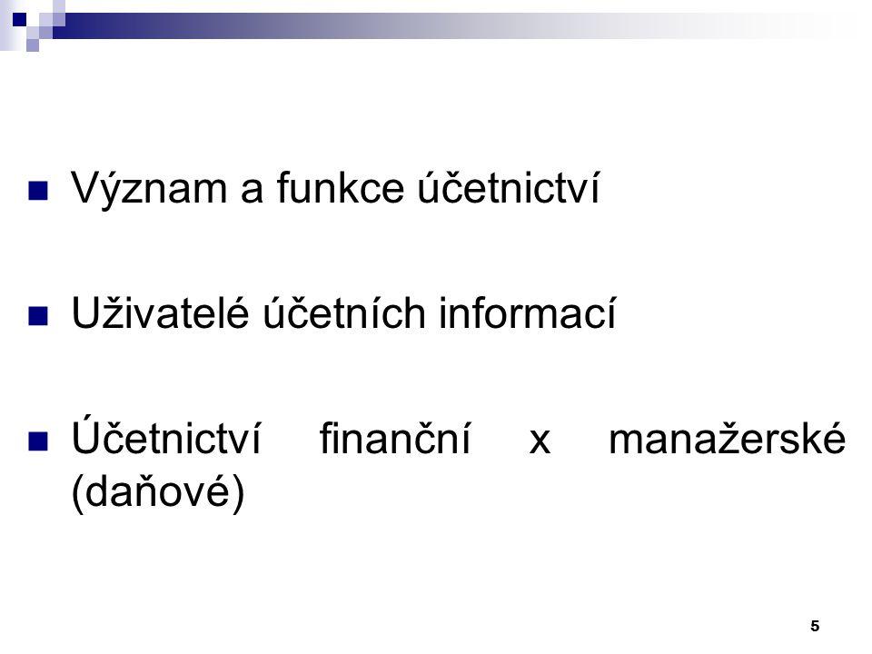 Význam a funkce účetnictví