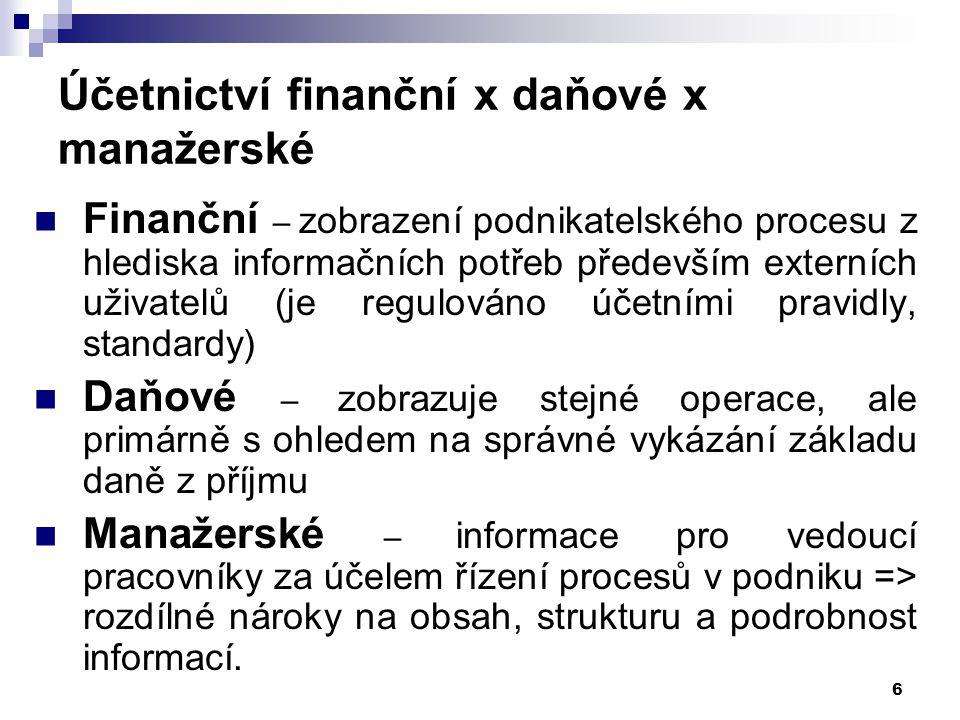 Účetnictví finanční x daňové x manažerské