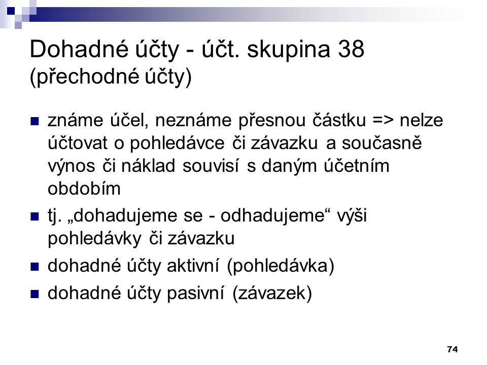 Dohadné účty - účt. skupina 38 (přechodné účty)