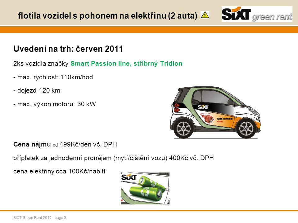 flotila vozidel s pohonem na elektřinu (2 auta)