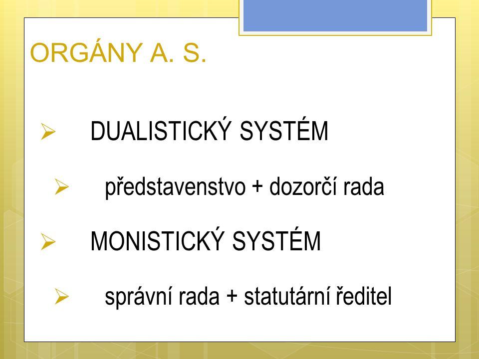 ORGÁNY A. S. DUALISTICKÝ SYSTÉM MONISTICKÝ SYSTÉM