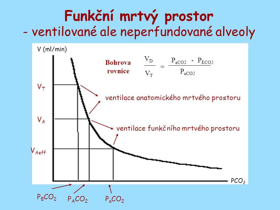 - ventilované ale neperfundované alveoly