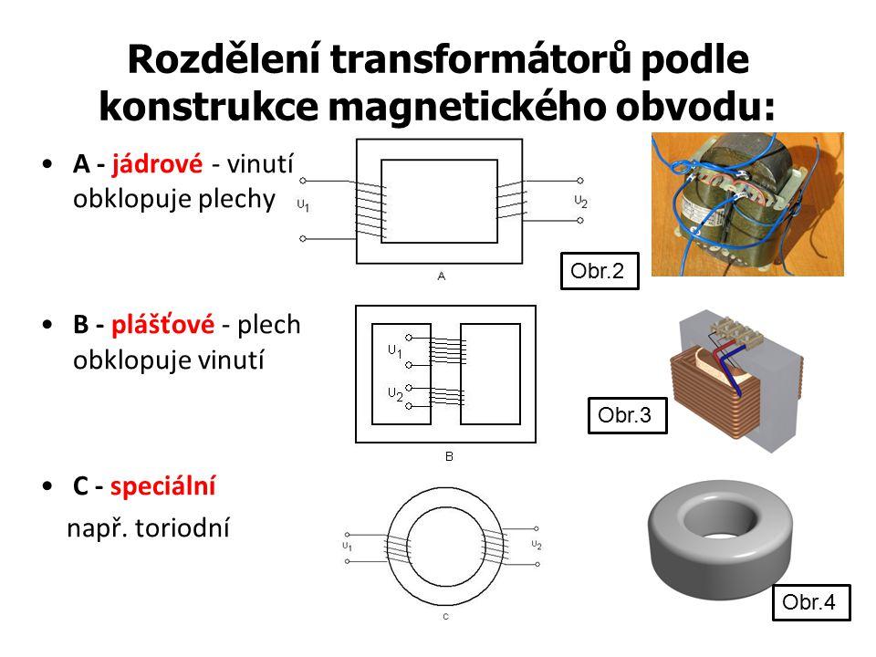 Rozdělení transformátorů podle konstrukce magnetického obvodu: