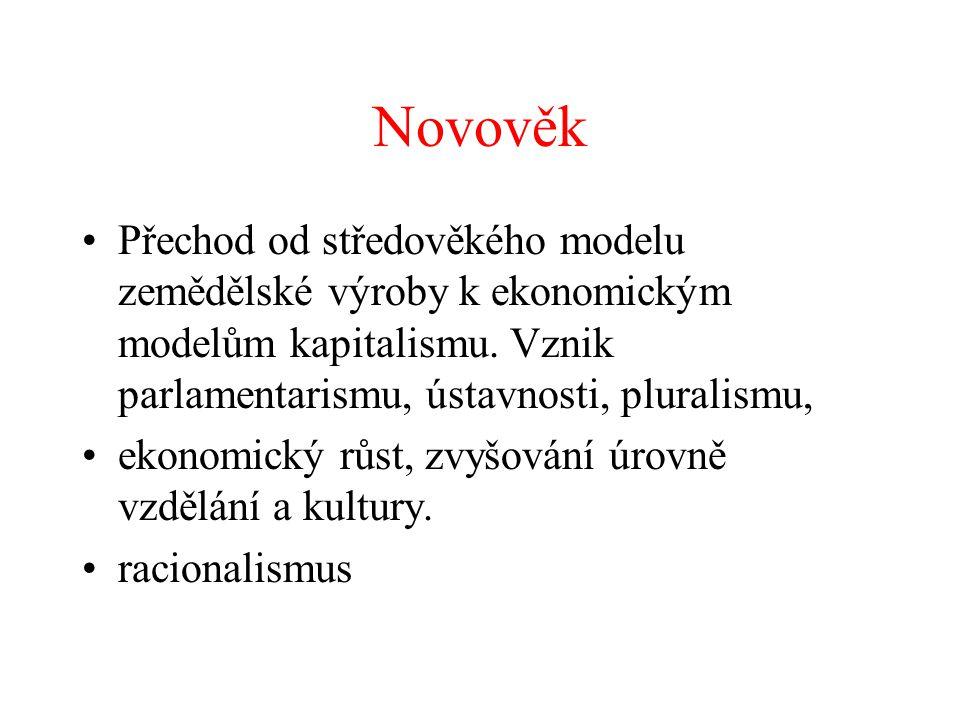 Novověk Přechod od středověkého modelu zemědělské výroby k ekonomickým modelům kapitalismu. Vznik parlamentarismu, ústavnosti, pluralismu,