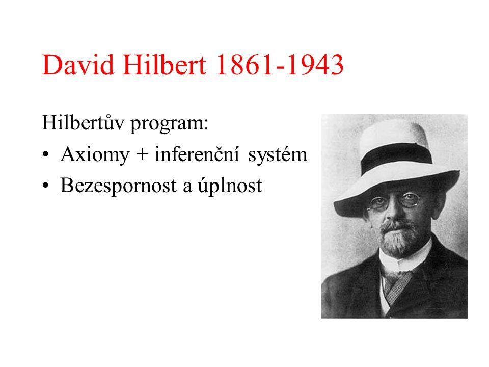 David Hilbert 1861-1943 Hilbertův program: Axiomy + inferenční systém