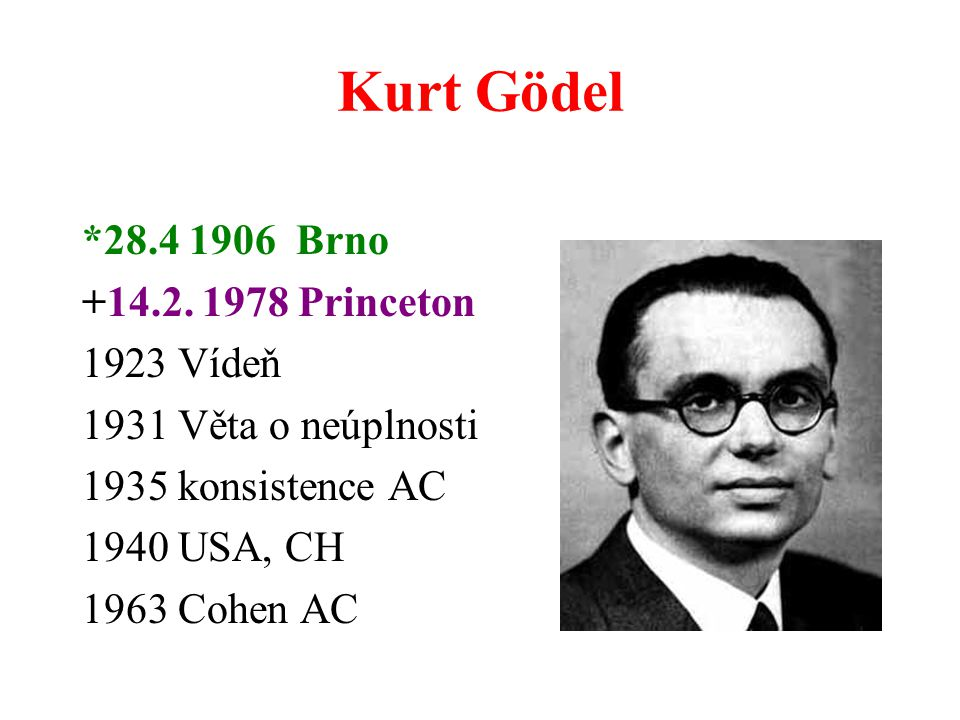 Kurt Gödel *28.4 1906 Brno +14.2. 1978 Princeton Vídeň