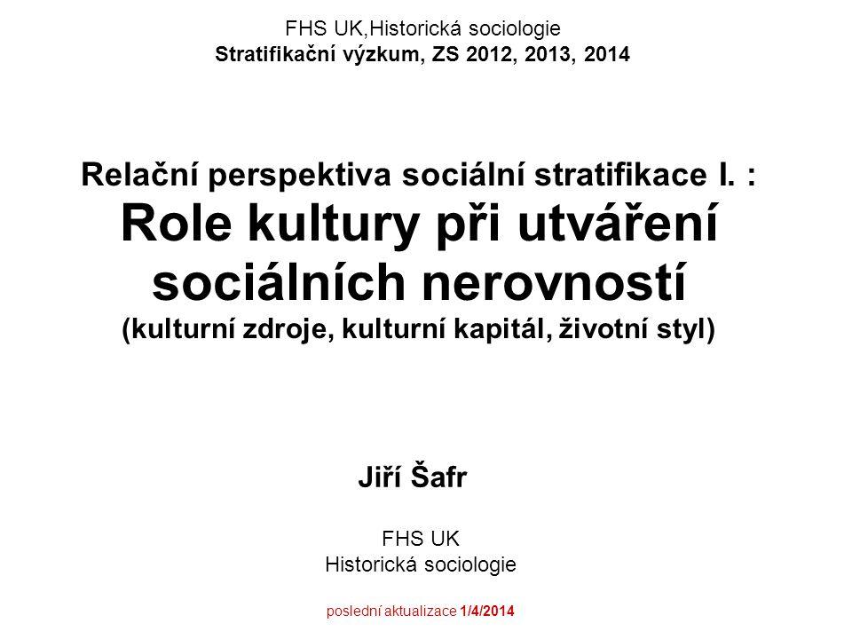 Stratifikační výzkum, ZS 2012, 2013, 2014