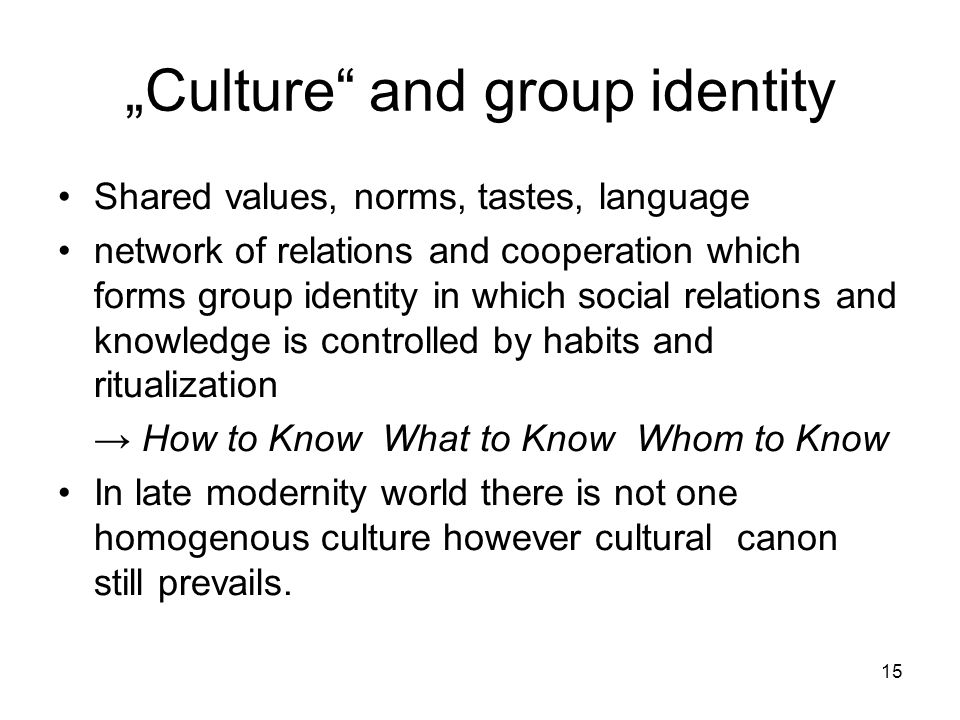 """Culture and group identity"