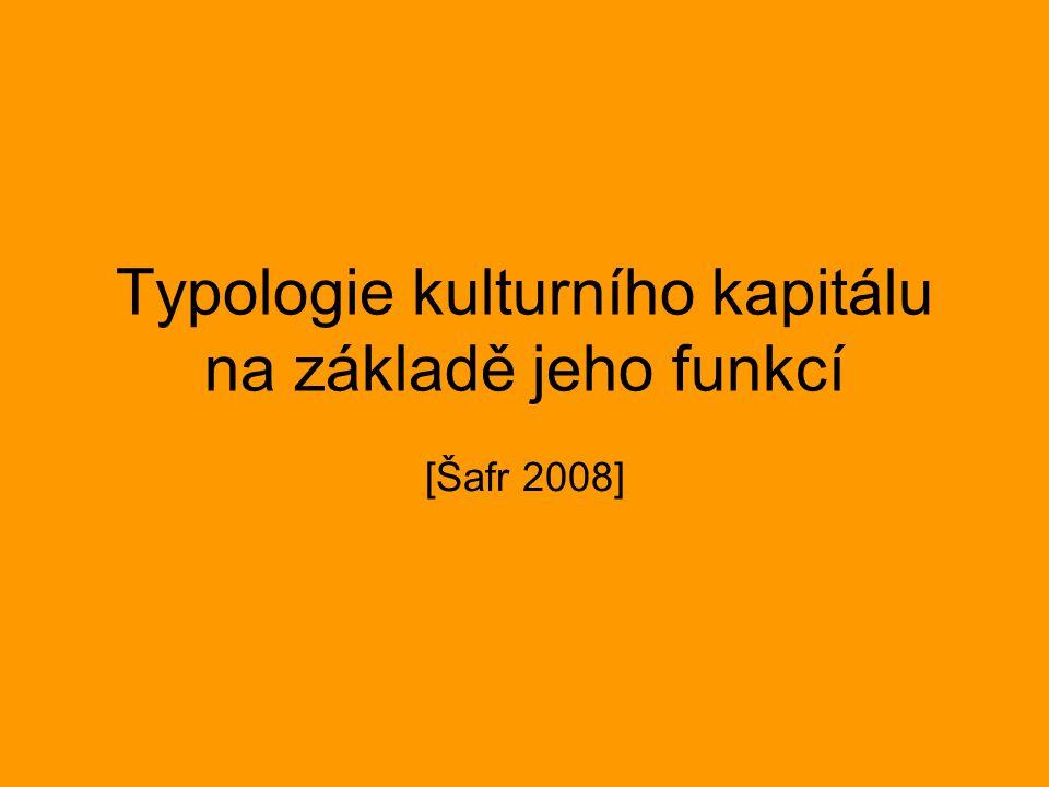 Typologie kulturního kapitálu na základě jeho funkcí