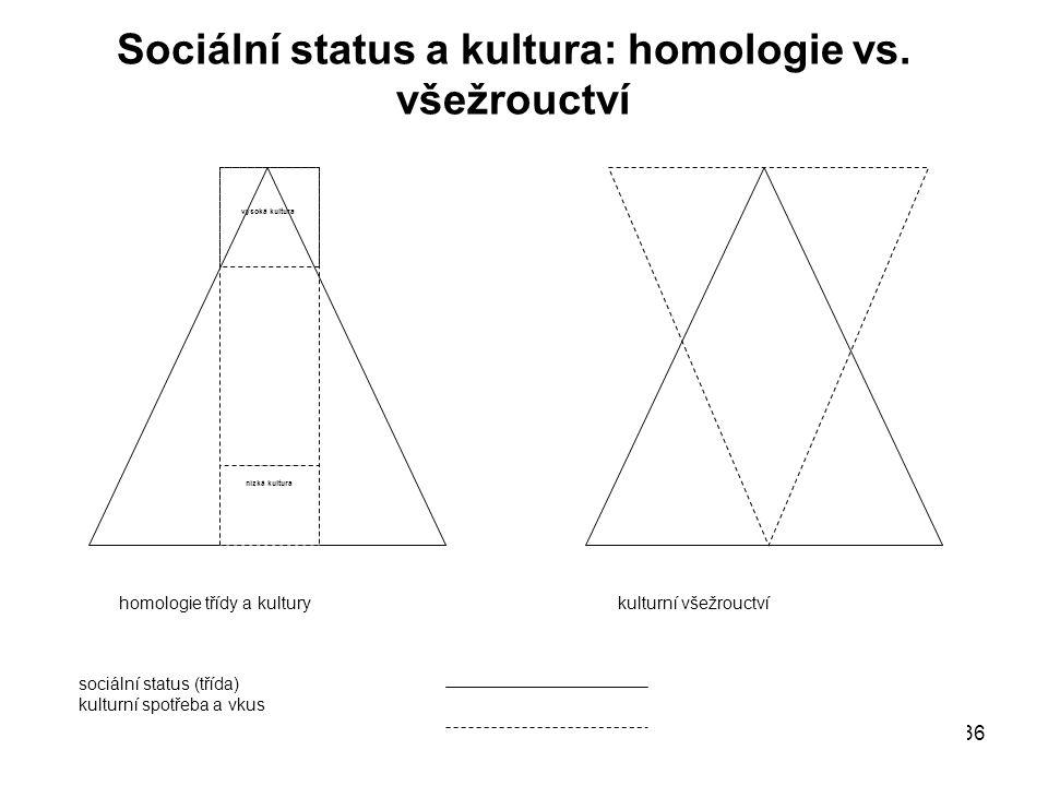 Sociální status a kultura: homologie vs. všežrouctví