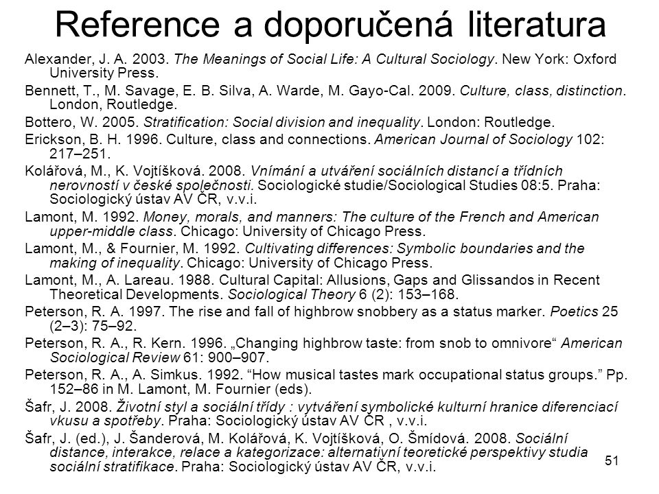 Reference a doporučená literatura
