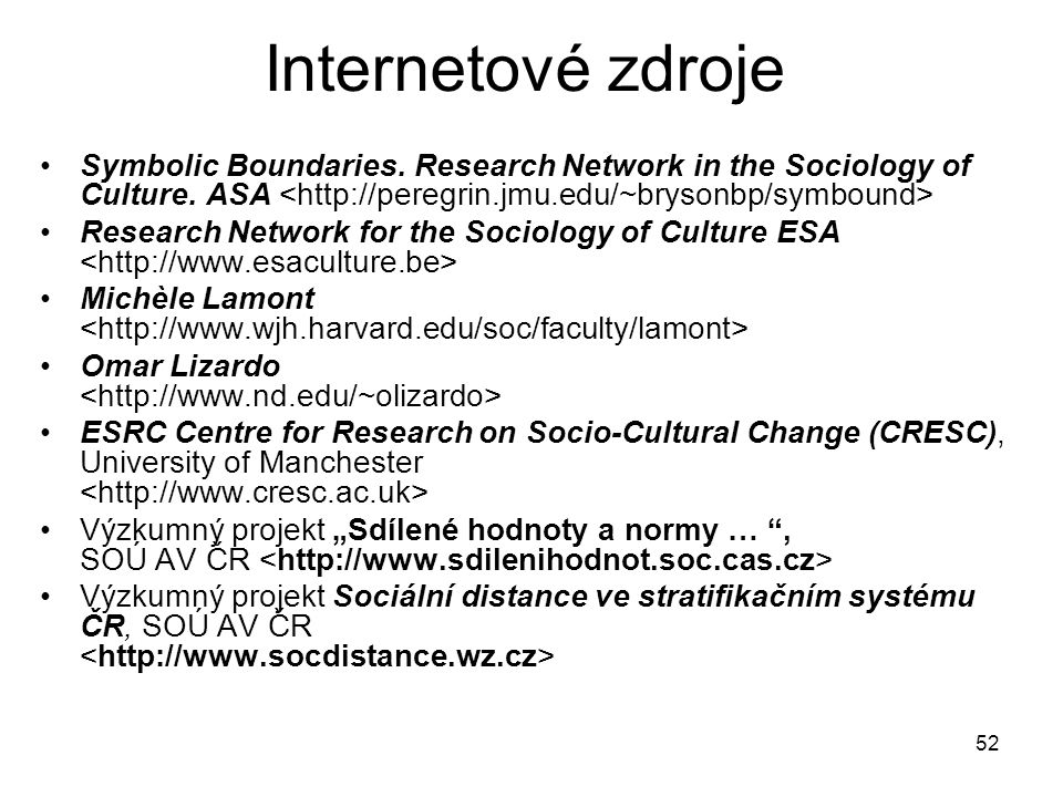 Internetové zdroje Symbolic Boundaries. Research Network in the Sociology of Culture. ASA <http://peregrin.jmu.edu/~brysonbp/symbound>