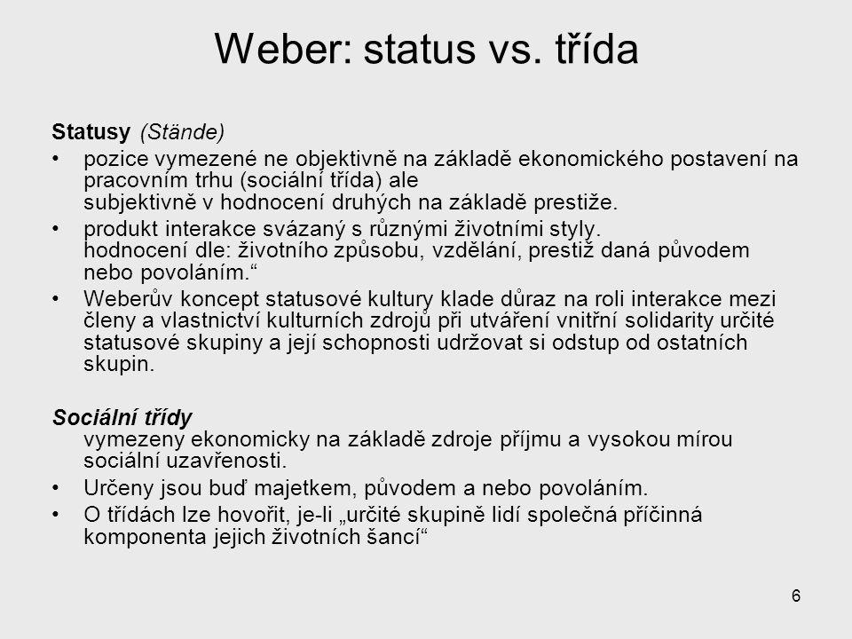 Weber: status vs. třída Statusy (Stände)
