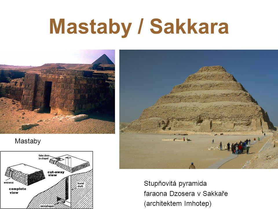 Mastaby / Sakkara Mastaby Stupňovitá pyramida