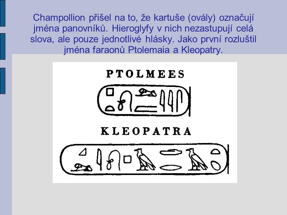 Champollion přišel na to, že kartuše (ovály) označují jména panovníků