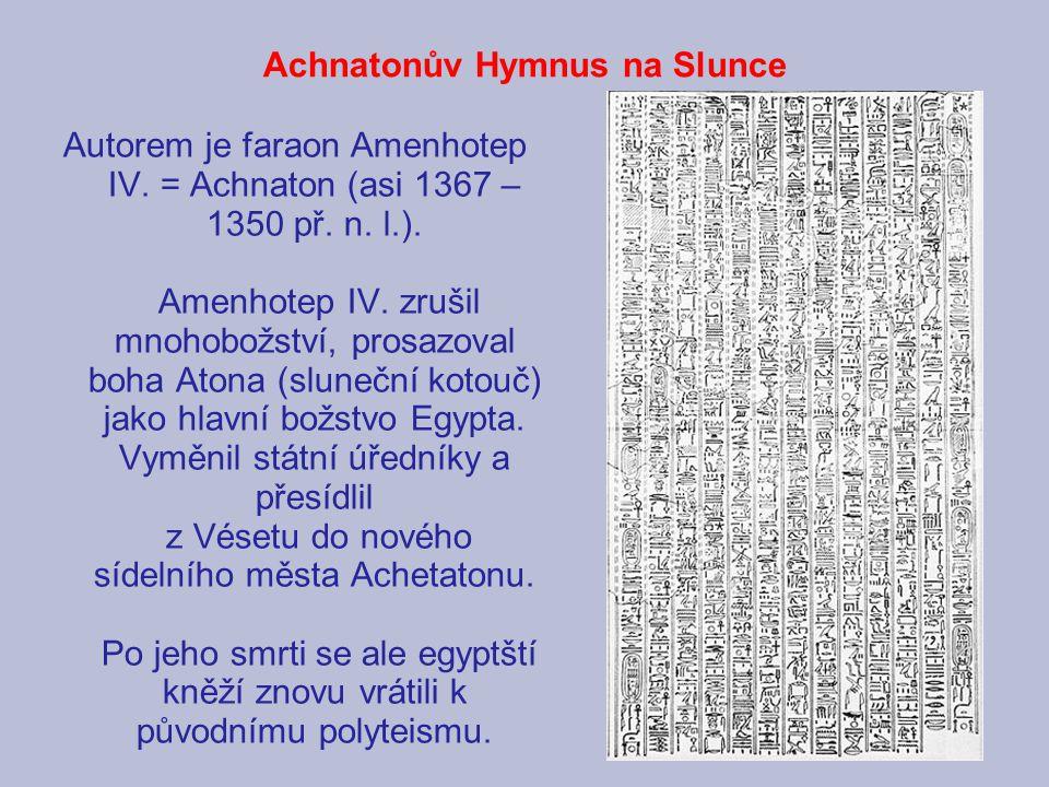 Achnatonův Hymnus na Slunce
