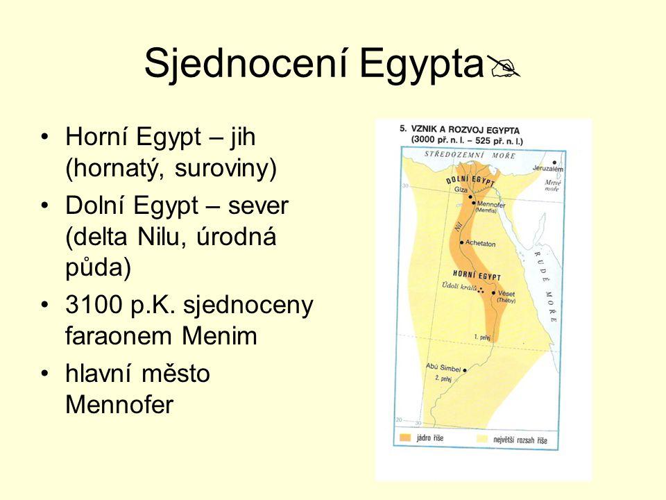 Sjednocení Egypta Horní Egypt – jih (hornatý, suroviny)