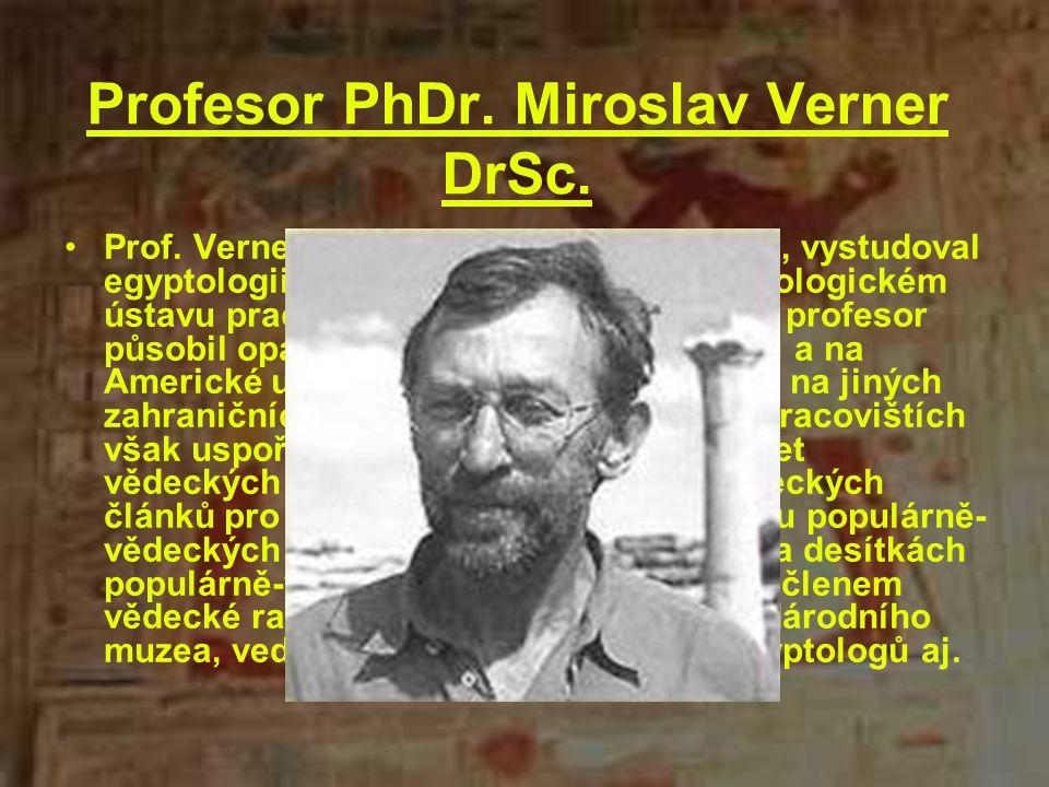 Profesor PhDr. Miroslav Verner DrSc.