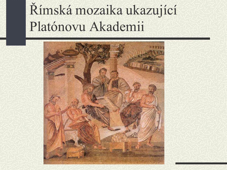 Římská mozaika ukazující Platónovu Akademii