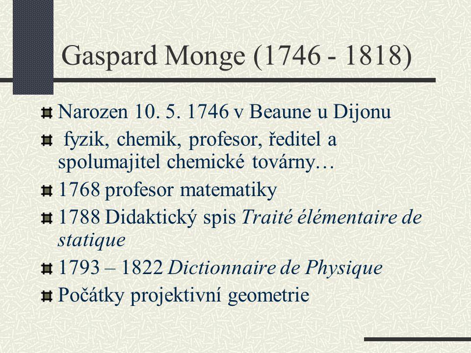 Gaspard Monge (1746 - 1818) Narozen 10. 5. 1746 v Beaune u Dijonu