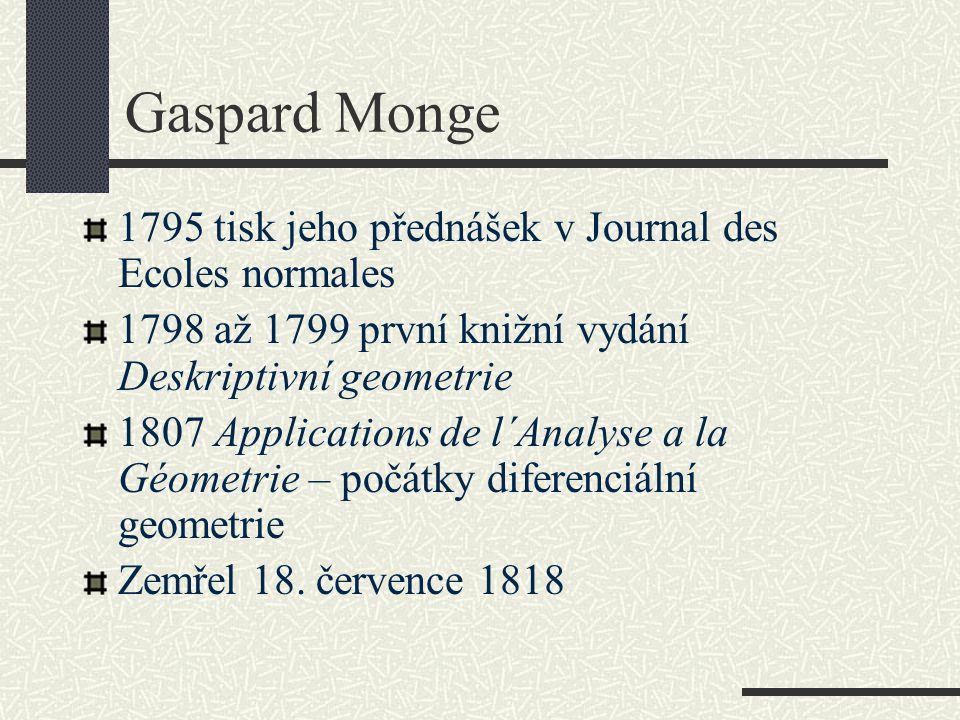 Gaspard Monge 1795 tisk jeho přednášek v Journal des Ecoles normales