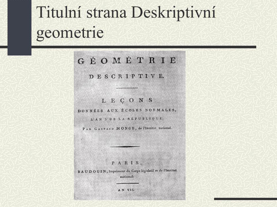 Titulní strana Deskriptivní geometrie