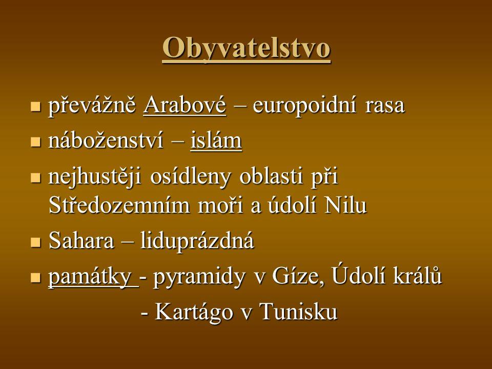 Obyvatelstvo převážně Arabové – europoidní rasa náboženství – islám