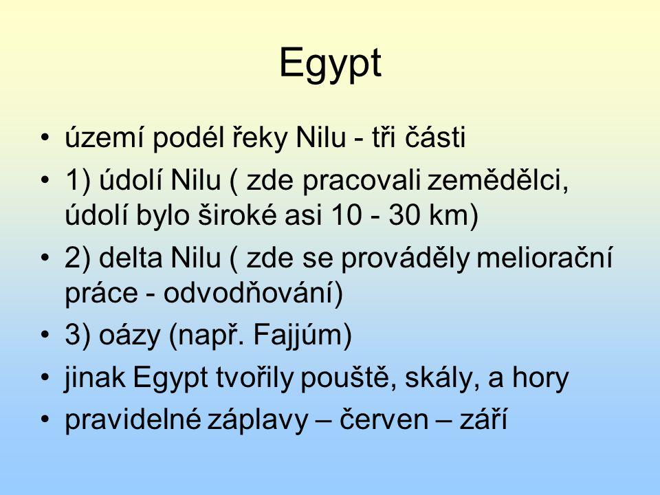 Egypt území podél řeky Nilu - tři části