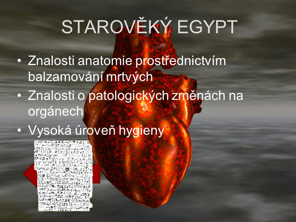 STAROVĚKÝ EGYPT Znalosti anatomie prostřednictvím balzamování mrtvých