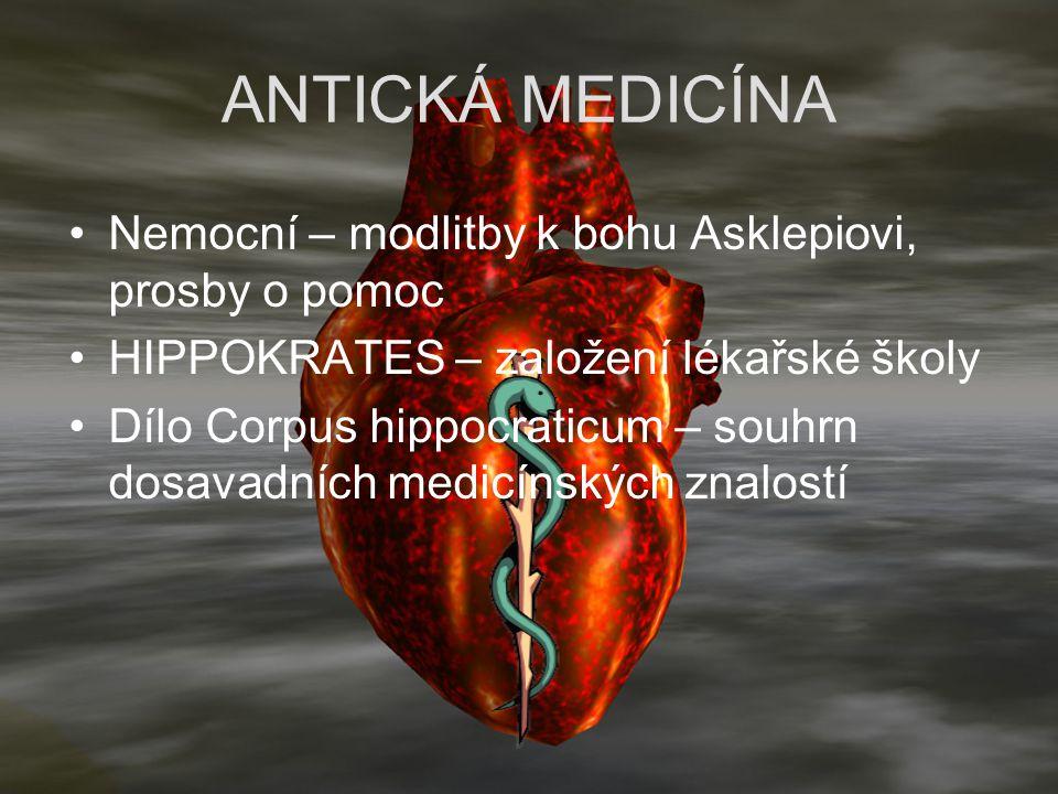 ANTICKÁ MEDICÍNA Nemocní – modlitby k bohu Asklepiovi, prosby o pomoc