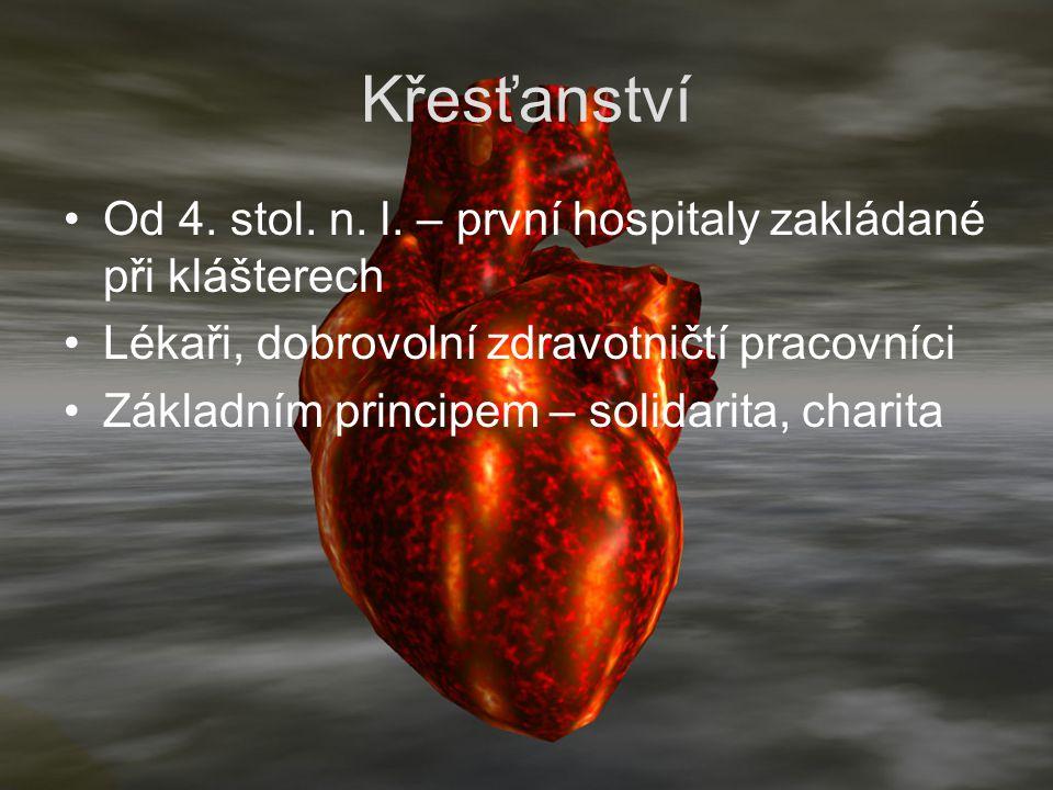 Křesťanství Od 4. stol. n. l. – první hospitaly zakládané při klášterech. Lékaři, dobrovolní zdravotničtí pracovníci.