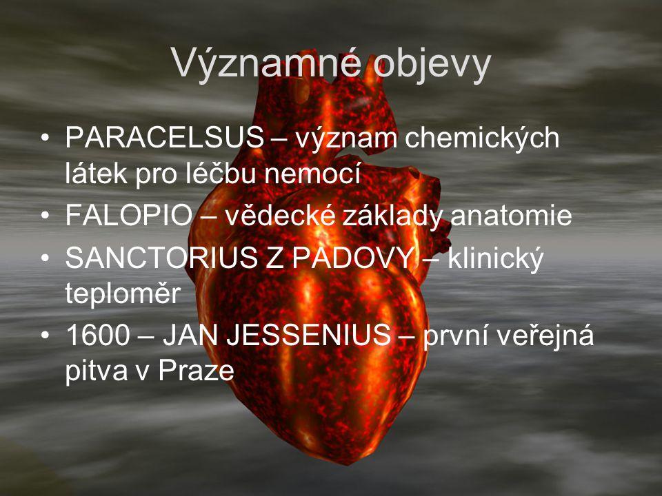 Významné objevy PARACELSUS – význam chemických látek pro léčbu nemocí