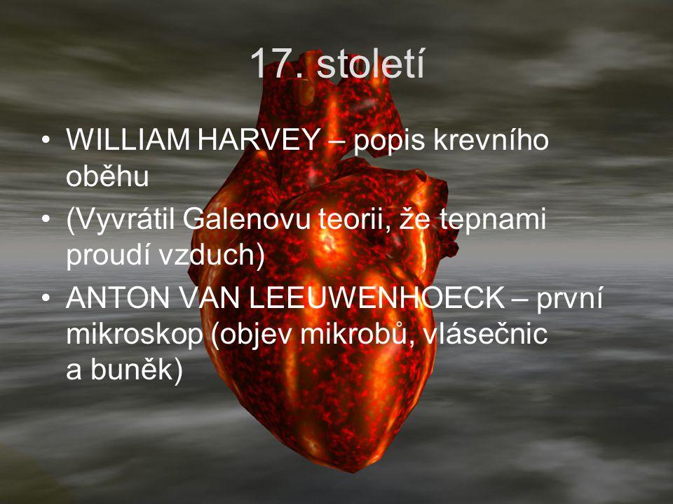 17. století WILLIAM HARVEY – popis krevního oběhu