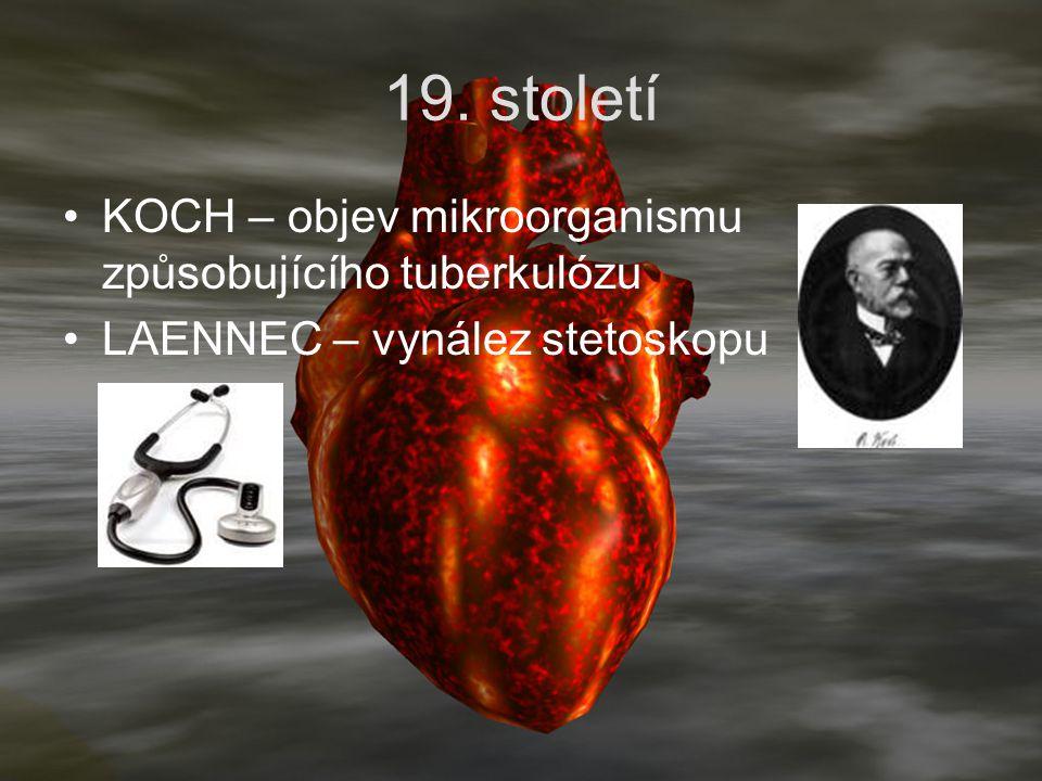 19. století KOCH – objev mikroorganismu způsobujícího tuberkulózu