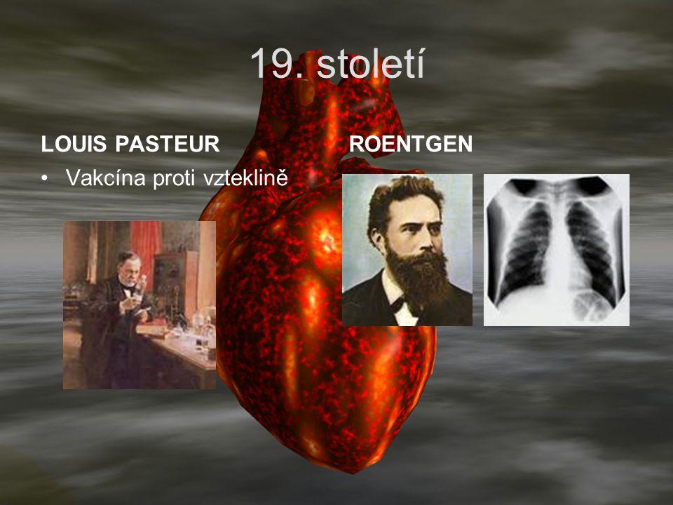 19. století LOUIS PASTEUR ROENTGEN Vakcína proti vzteklině