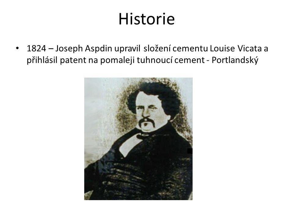 Historie 1824 – Joseph Aspdin upravil složení cementu Louise Vicata a přihlásil patent na pomaleji tuhnoucí cement - Portlandský.