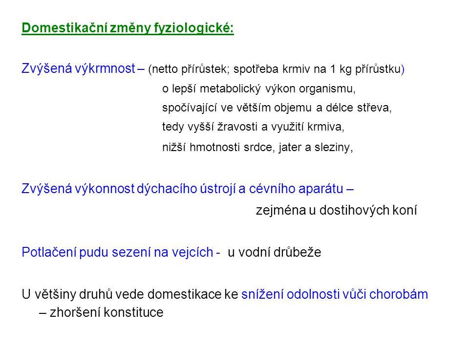 Domestikační změny fyziologické: