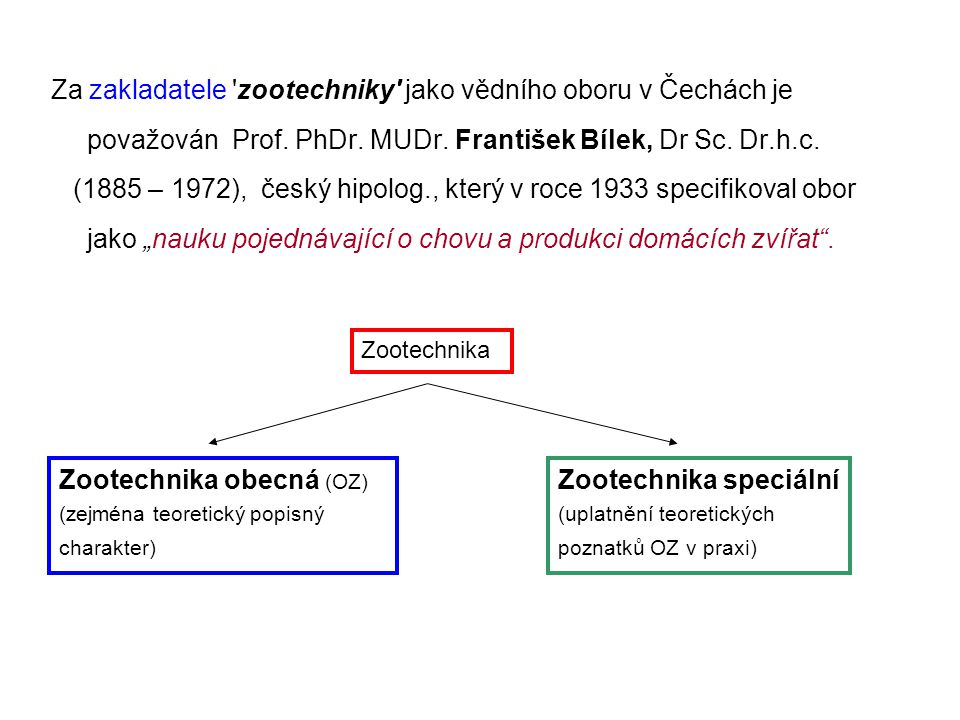 Zootechnika obecná (OZ) Zootechnika speciální
