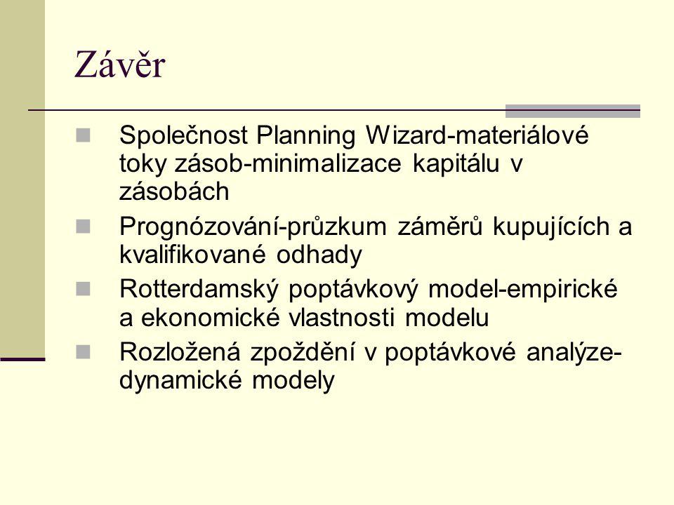 Závěr Společnost Planning Wizard-materiálové toky zásob-minimalizace kapitálu v zásobách.
