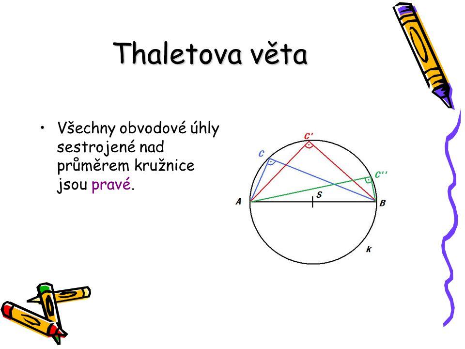 Thaletova věta Všechny obvodové úhly sestrojené nad průměrem kružnice jsou pravé.