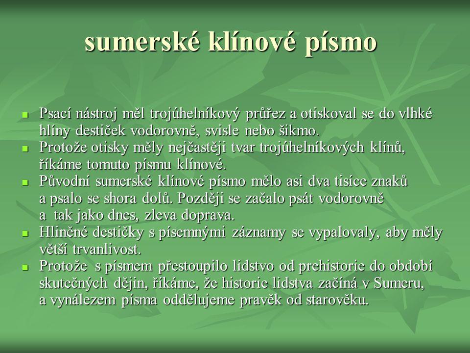 sumerské klínové písmo
