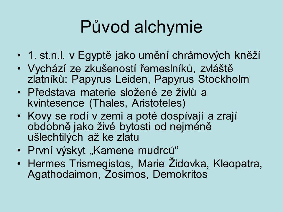 Původ alchymie 1. st.n.l. v Egyptě jako umění chrámových kněží