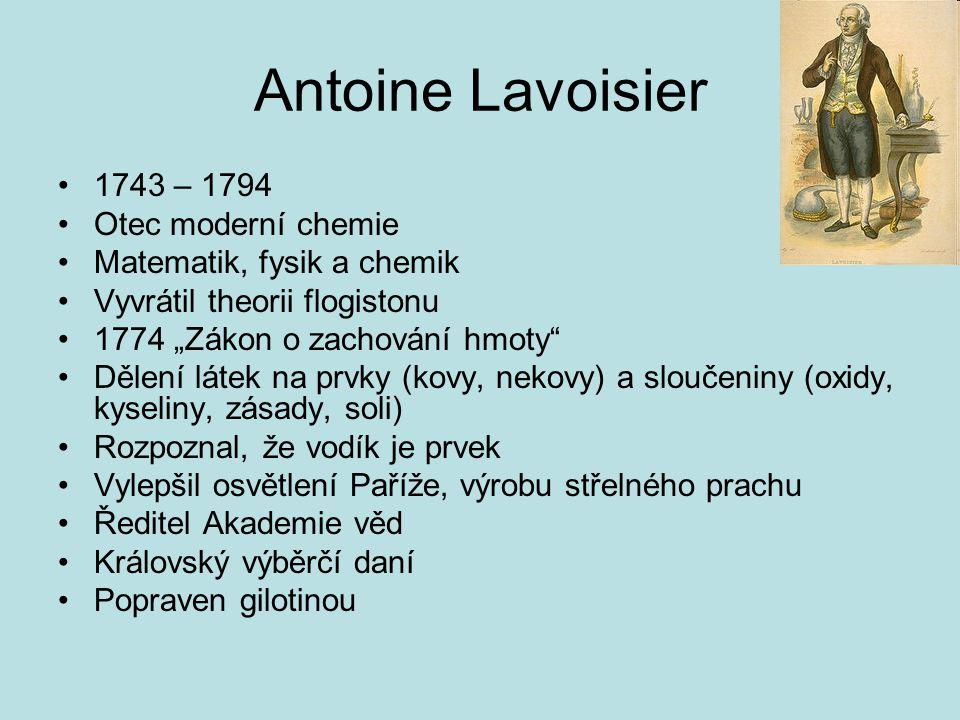 Antoine Lavoisier 1743 – 1794 Otec moderní chemie